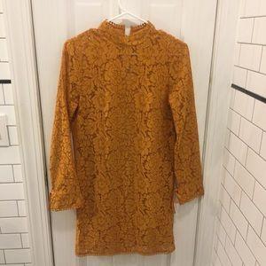 H&M long-sleeved lace dress, in orange-gold color